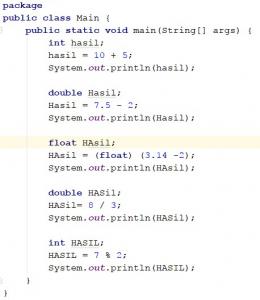 Operasi Aritmatika pada Java