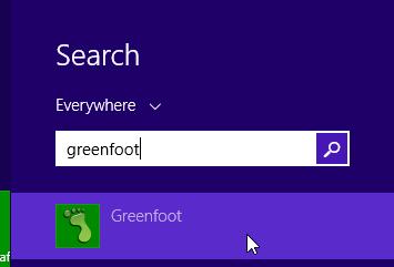 Tampilan Greenfoot pada Start Menu